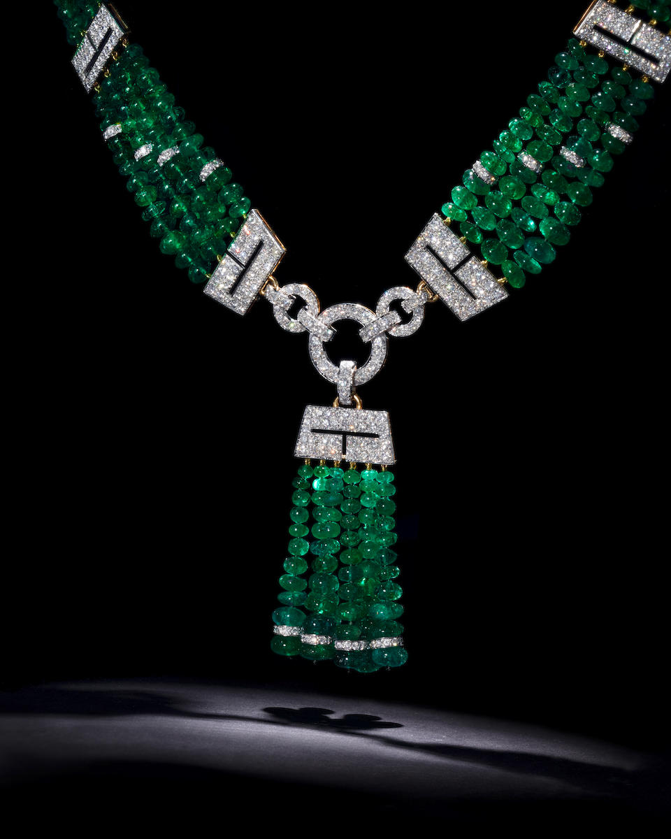 An emerald and diamond necklace, David Webb