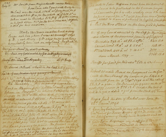 MARYLAND PLANTATION MANUSCRIPT JOURNAL. MARSHALL, JAMES. 1720-1803. Manuscript on paper, being a Maryland plantation journal of James Marshall, owner of Arcadia, Wett Work, and Locust Level, in Monocacy, covering all aspects of the management over 7 years,