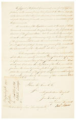 "ADAMS, SAMUEL. 1722-1803. Letter Signed (""Saml Adams""), 2 pp, 4to (328 x 203 mm), [Boston], October 9th, 1793, to Samuel Huntington, Governor of Connecticut, being a circular letter arguing for ""the first principles of a federal government,"""