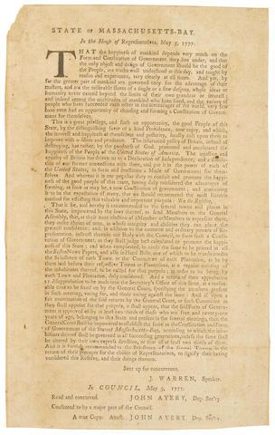 MASSACHUSETTS CONSTITUTION. State of Massachusetts-Bay, In the House of Representatives, May 5, 1777. [Boston: Benjamin Edes, 1777.]