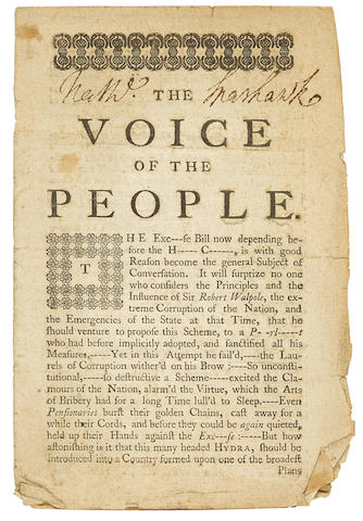 MASSACHUSETTS: COLONIAL EXCISE BILL. The Voice of the People. [Boston: 1754]