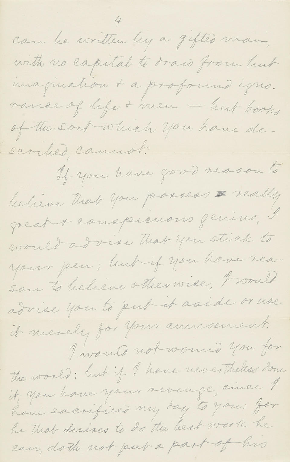 """CLEMENS, SAMUEL LANGHORNE. 1835-1910. Autograph Letter Signed (""""S.L. Clemens"""") to Bruce W. Munro, offering extensive hard-earned advice on writing to a young author,"""