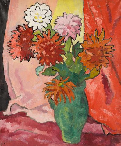 Louis Valtat (1869-1952) Dahlias, cruche verte (Painted circa 1942)