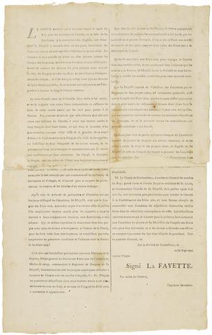 LAFAYETTE, GILBERT DE MOTIER, MARQUIS DE. 1757-1834. L'amour paternel qui a toujours animè le coeur du roy pour les habitans du Canada.... [Philadelphia: Printed by David C. Claypoole, 1780.]