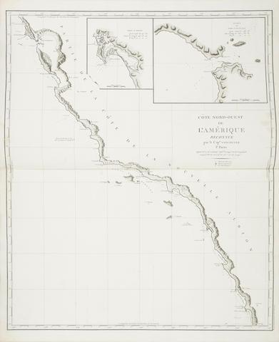 Vancouver, Captain George. 1758-1798. Voyages de Decourvertes, a l'Ocean Pacifique du Nord et autour du Monde. Paris: Imprimerie de la Republique, an VIII [1799-1800].