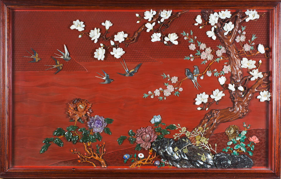 A Cinnabar Lacquer and Hardstone 'bird and flower' Panel  20th century