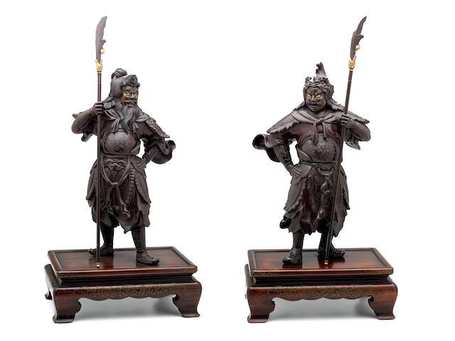 A pair of large bronze models of guardians Meiji era (1868-1912), late 19th century