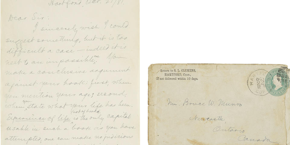 "CLEMENS, SAMUEL LANGHORNE. 1835-1910. Autograph Letter Signed (""S.L. Clemens"") to Bruce W. Munro, offering extensive hard-earned advice on writing to a young author,"
