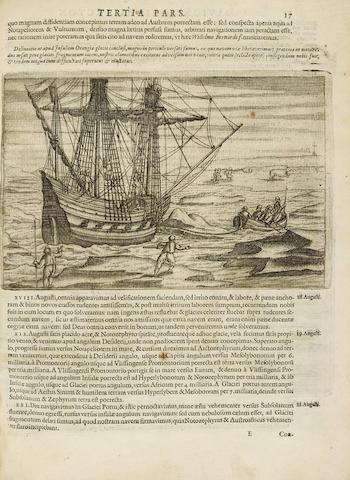 VEER, GERRIT DE. c.1573-AFTER 1598. Diarum nauticum seu vera descriptio Trium Navigationum admirandarum ... ad Septemtrionem, supra Norvagiam, Moscoviam & Tartariam, versus Catthay & Sinarum regna.... Amsterdam: Cornelius Claesz, 1598.