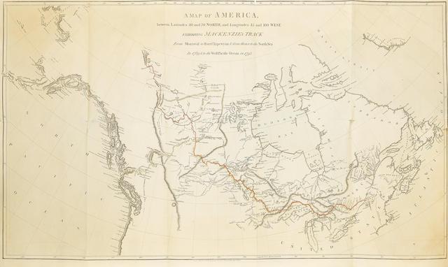 Map Of America 1820.Bonhams Mackenzie Alexander 1763 1820 Voyages From Montreal On