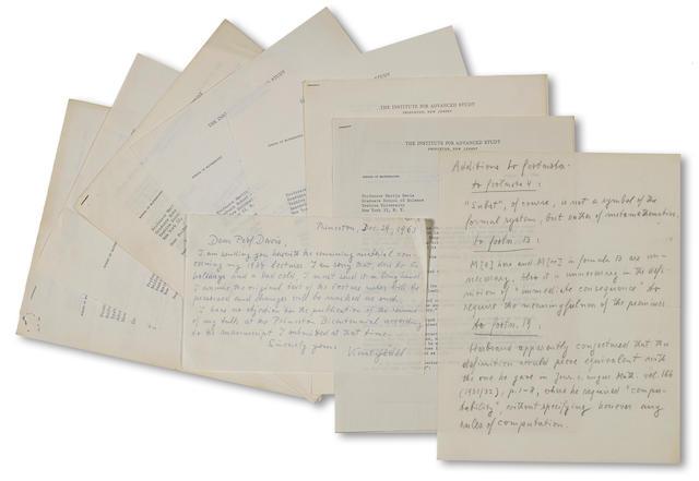 Gödel, Kurt. 1906-1978. Archive of correspondence and notes sent to Dr. Martin Davis: