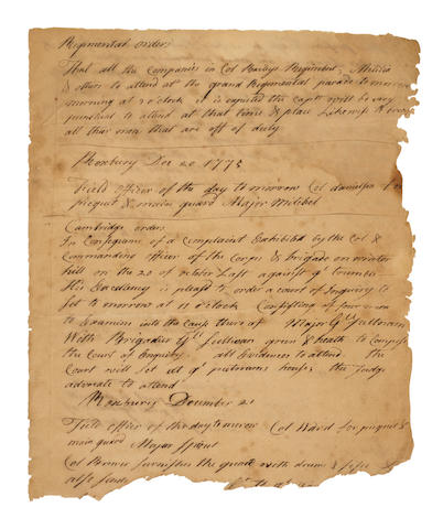 REVOLUTIONARY WAR. Manuscript in ink, being 14 leaves from orderly books from the Battle of Boston, from Washington's Aide-de-Camp,