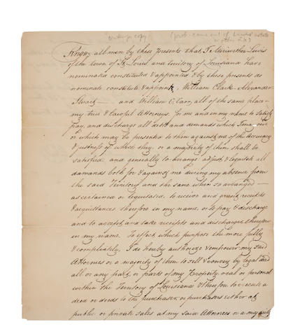 LEWIS, MERIWETHER. 1774-1809. Manuscript Document, 2 pp recto and verso, 4to (225 x 195 mm), St. Louis, Louisiana Territory, August 19, 1809, in ink. Being a contemporary copy of his final Power of Attorney, in the hand of his attorney Edward Hempstead,