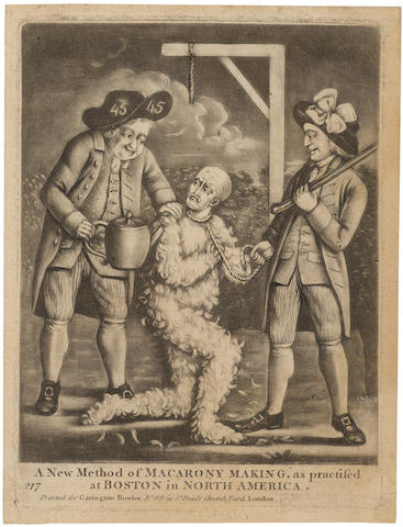REVOLUTIONARY WAR. A New Method of Macarony Making, as Practiced at Boston in North America. London: for Carrington Bowles, [1774].