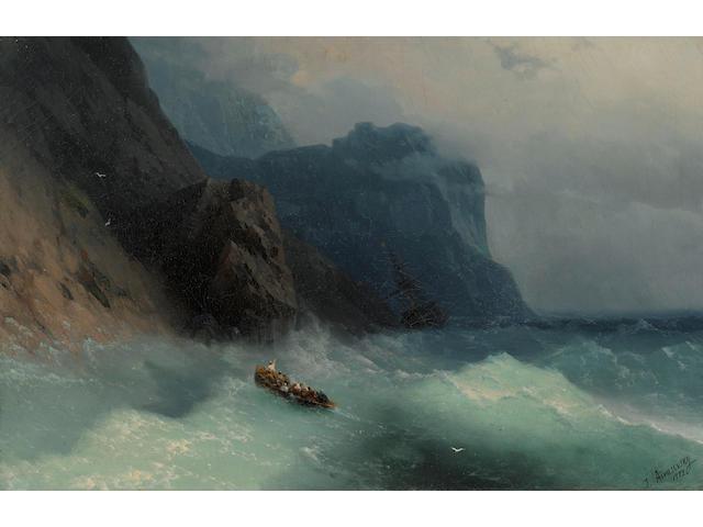 Ivan Konstantinovich Aivazovsky (Russian, 1817-1900) Shipwreck on a rocky shore