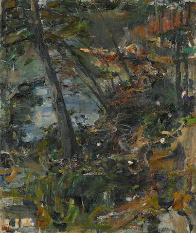 Nikolai Fechin (Russian, 1881-1955) 'Trees by water'