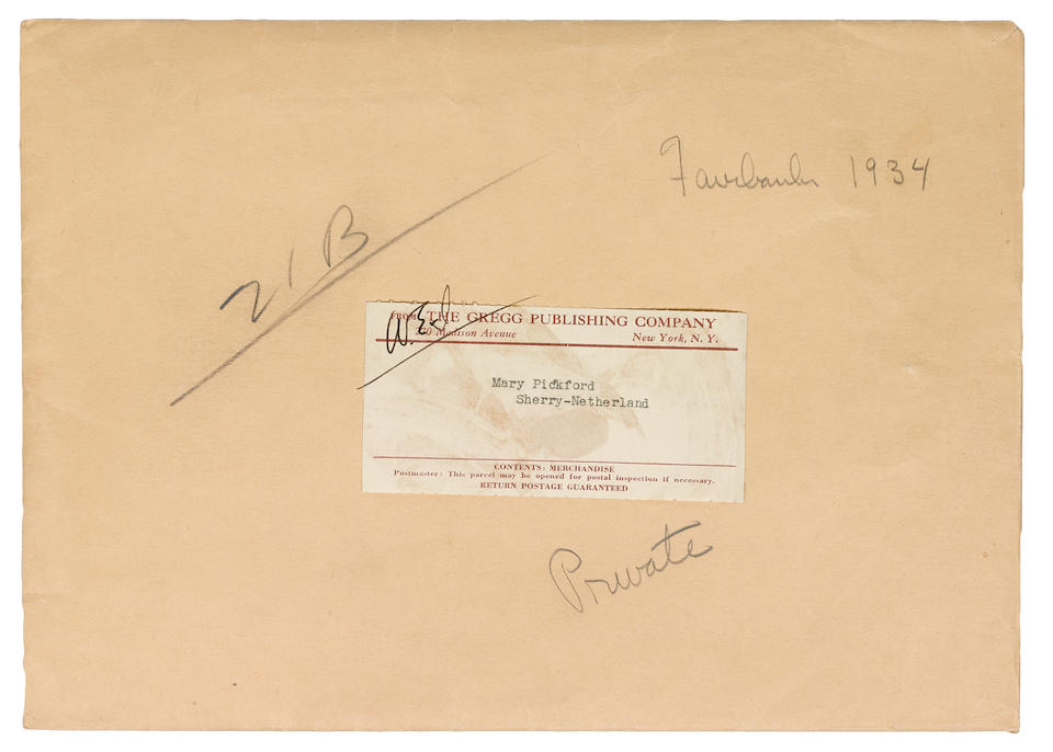 A Mary Pickford group of love notes and telegrams from Douglas Fairbanks