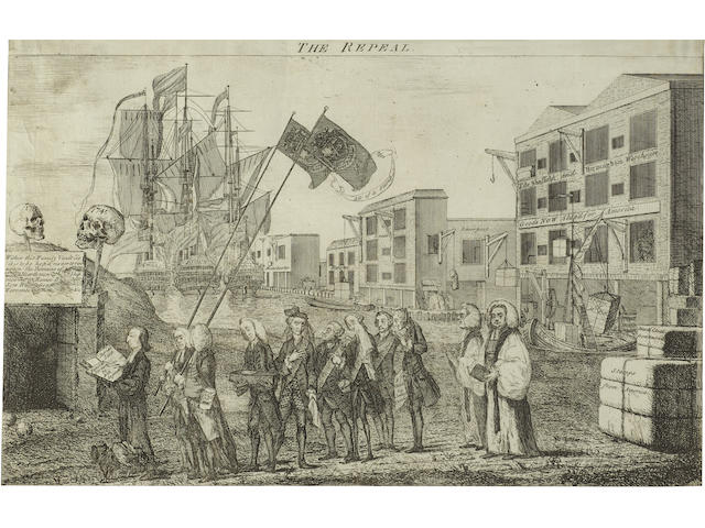 REVOLUTIONARY WAR. WILSON, BENJAMIN, artist. The Repeal, or the Funeral Procession of Miss Americ-Stamp. [London: c.1766.]