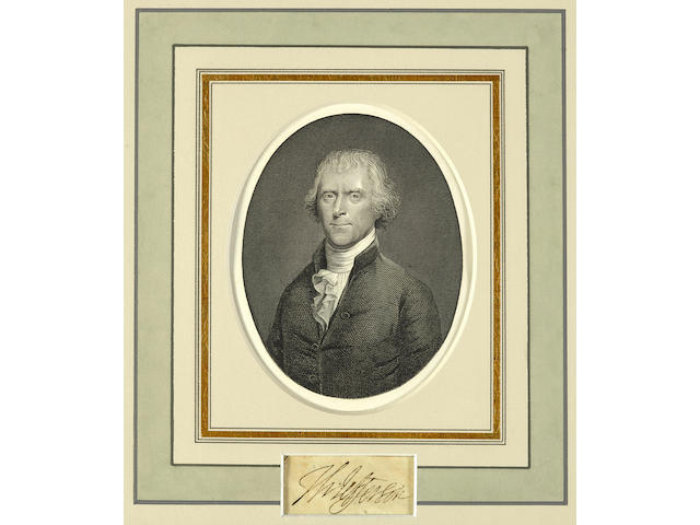 "JEFFERSON, THOMAS. 1746-1826. Clipped signature, (""Th: Jefferson""), 21 x 57 mm (viewable),"
