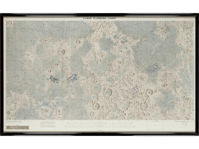 LARGE LUNAR NEAR SIDE CHART, SIGNED BY 20TH CENTURY SURFACE EXPLORERS.
