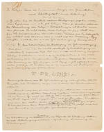 "EINSTEIN, ALBERT. 1879-1955. Autograph Manuscript in German signed twice (""A. Einstein,"" in pencil at beginning of p 1 and in ink at end of p 4), 4 pp, black ink on paper watermarked ""M.K. Papier,"" 4to, [c.1925-27],"