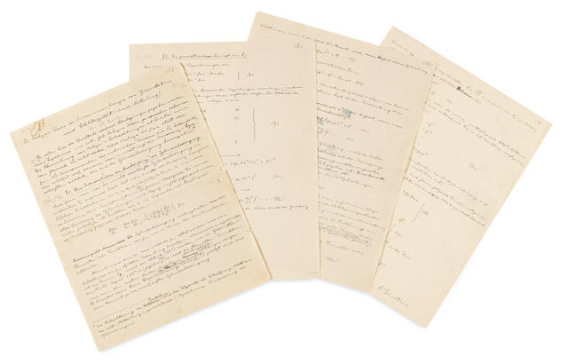 """EINSTEIN, ALBERT. 1879-1955. Autograph Manuscript in German signed twice (""""A. Einstein,"""" in pencil at beginning of p 1 and in ink at end of p 4), 4 pp, black ink on paper watermarked """"M.K. Papier,"""" 4to, [c.1925-27],"""