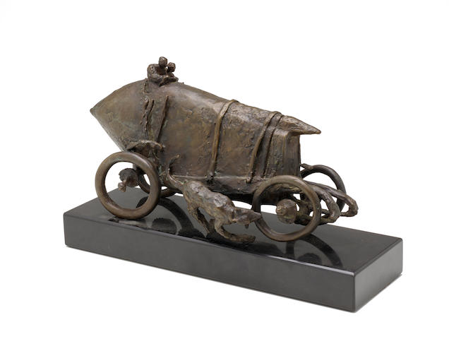 Leo Bestgen, bronze, 1910 Blitzen Benz Barney Oldfield and Dog, signed and numbered