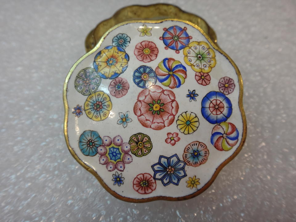 AN IMPERIAL ENAMEL 'FLORAL MEDALLION' SEAL PASTE BOX AND COVER  Qianlong mark and of the period