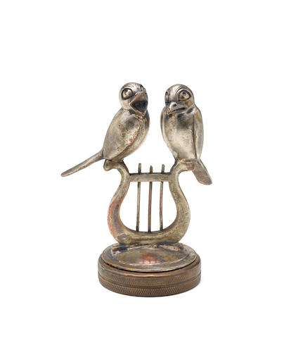 "A ""Love Birds"" mascot by Maison Cardeilhac, French, 1920s,"