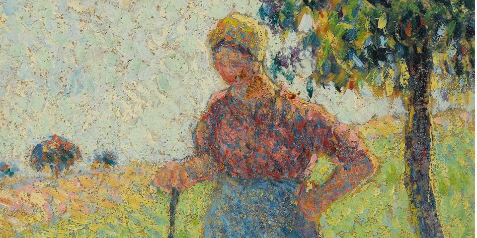 Camille Pissarro (1830-1903) La Gardeuse d'oies 7 1/4 x 5 1/2 in (19 x 13.8 cm) (Painted in 1890)
