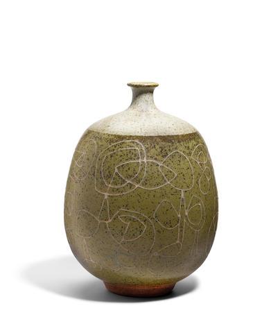 Peter Voulkos (1924-2002) Vasecirca 1952glazed stoneware, incised 'VOULKOS' on the undersideheight 12 3/4in (32.5cm)