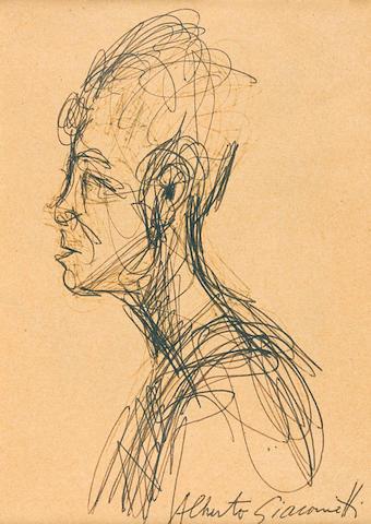 ALBERTO GIACOMETTI (1901-1966) Portait de Caroline (recto); Vue d'une rue (verso) 5 7/8 x 4 in (14.8 x 10.1 cm) (Executed in 1961-62)