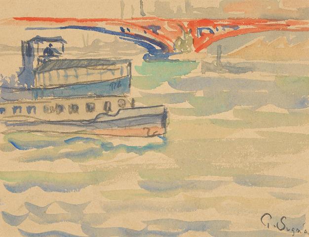 Paul Signac (1863-1935) Scène de bateaux 4 3/4 x 5 3/4 in (12.1 x 14.6 cm)
