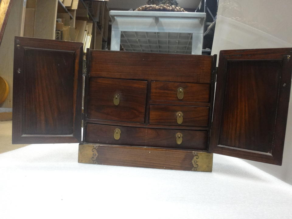 A pair of huanghuali table-top chests, guanpixiang 19th century