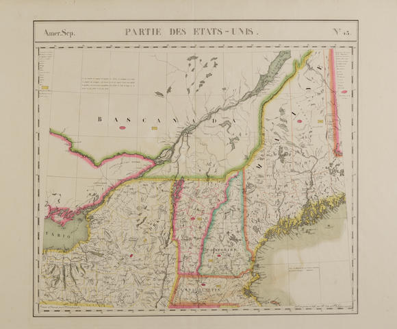 VANDERMAELEN, PHILLIPPE MARIE GUILLAUME. 1795-1869.  A collection of 10 hand-colored lithographed maps of the United States