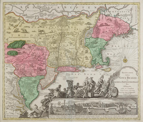 Lotter, Tobias Conrad. 1717-1810. Recens edita totius Novi Belgii in America Septentrionali situ, Augsburg: [c.1760 or later].