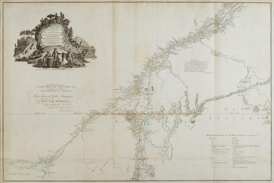 Faden, William. 1750-1836. A map of the inhabited part of Canada from the French surveys with the frontiers of New York and New England from the large survey by Claude Joseph Sauthier. London: 1777.