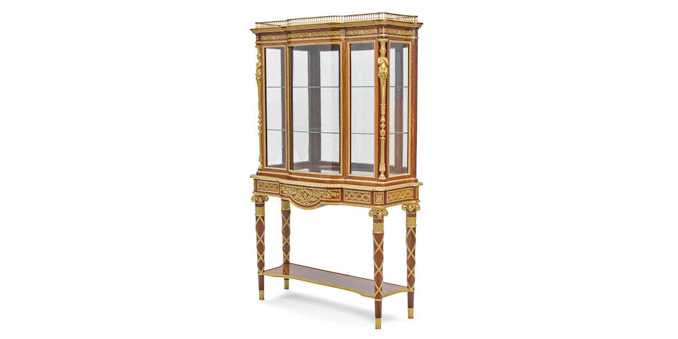 A very fine Louis XVI style gilt bronze mounted mahogany vitrine cabinet, possibly the workshop of Paul Sormani19th century