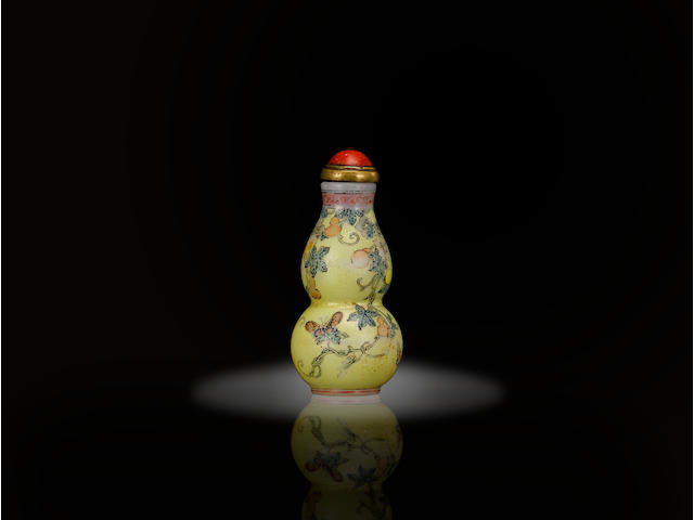 A very rare yellow ground and famille rose enameled miniature gourd-form glass snuff bottle  Imperial, Beijing Palace Workshops, Qianlong mark incised and painted in black to the base and of the period, 1736-1795