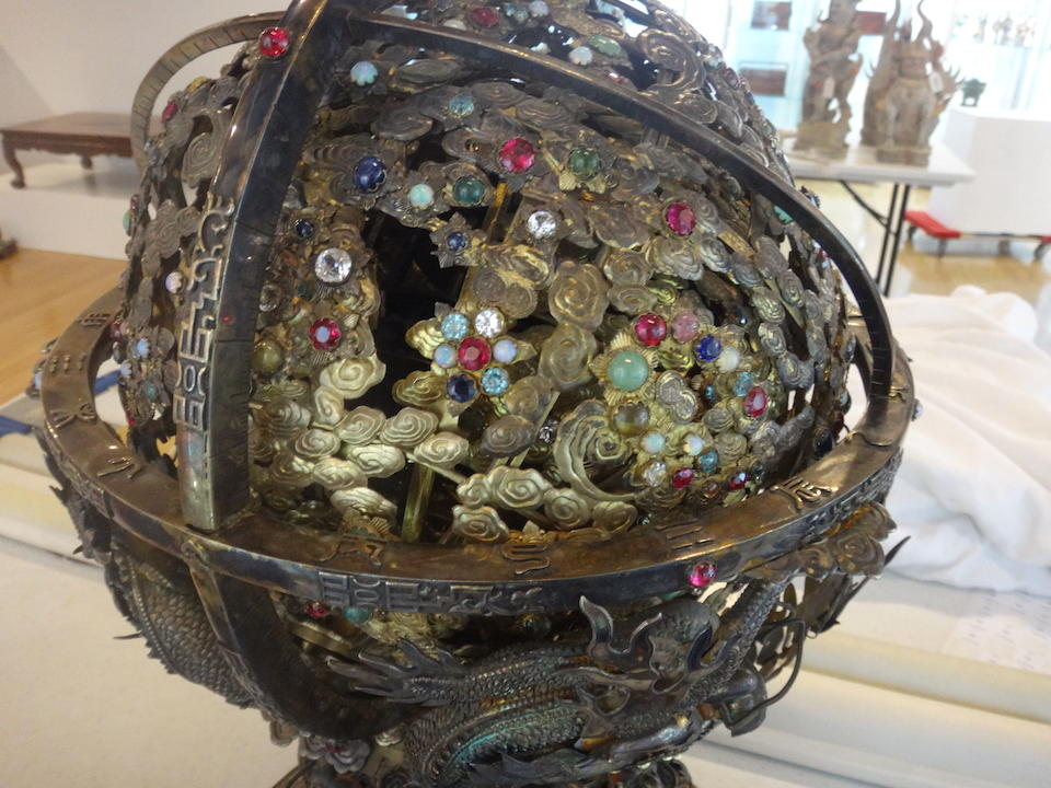 A RARE SILVER AND GILT-METAL HARDSTONE AND GLASS EMBELLISHED CELESTRIAL SPHERE 19th century