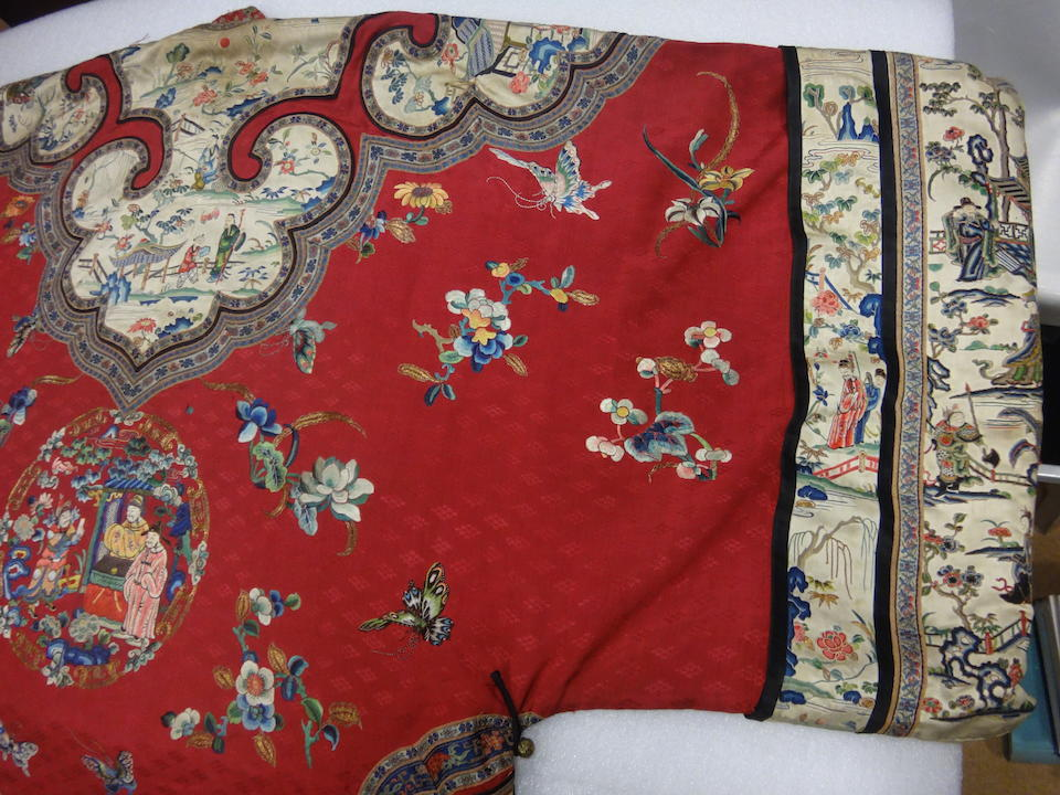 TWO HAN LADY'S EMBROIDERED SILK INFORMAL ROBES Late 19th century