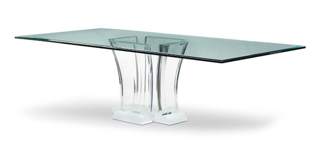 An acrylic and glass pedestal dining tableattributed to Jeffrey Bigelow Late 20th century