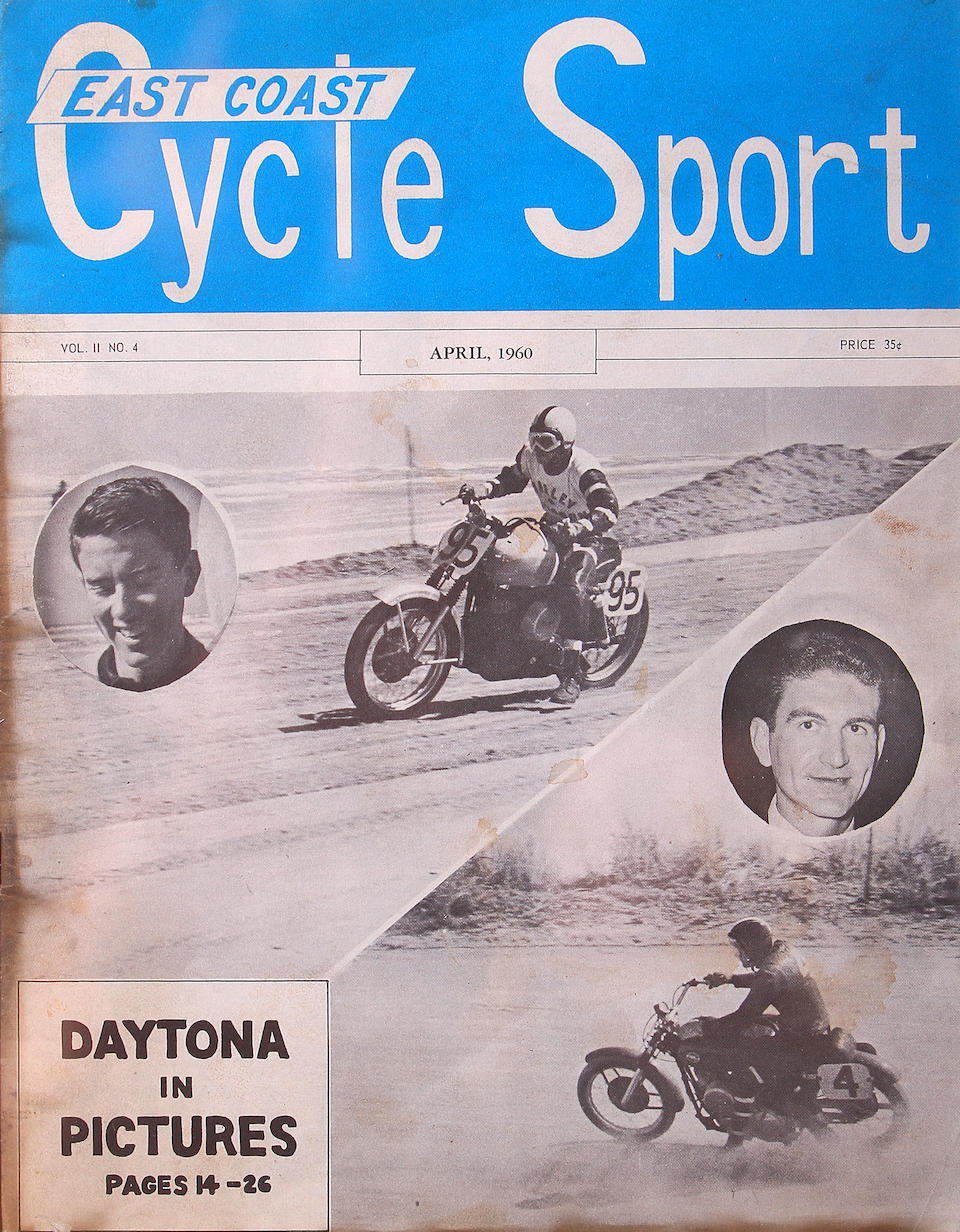 A framed grouping of 1950's A.M.A Daytona race brochures,  (7)