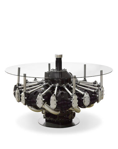 B-17 ENGINE FASHIONED INTO A MODERN TABLE