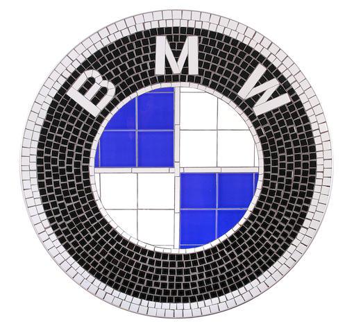 A BMW tile mosaic wall shield,
