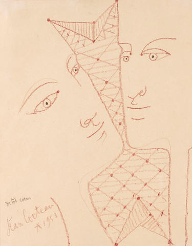 Jean Cocteau (1889-1963) Deux visages 9 3/4 x 8 1/4 in (25 x 20.9 cm) (Executed in 1959)