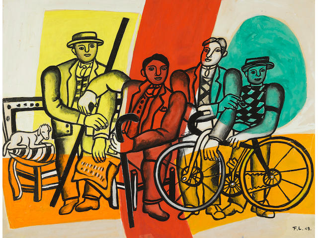 FERNAND LÉGER (1881-1955) L'Equipe au repos 19 3/4 x 25 5/8 in (50 x 65 cm) (Executed in 1948)