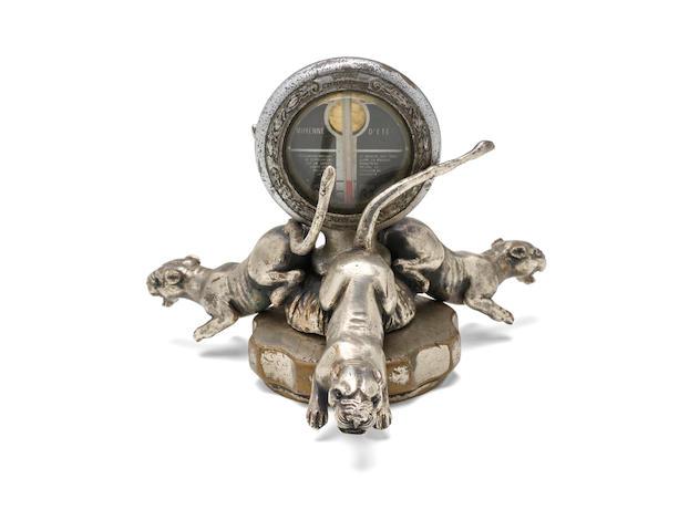"A rare ""Trois Panthères"" mascot by François Roques, French, 1920s,"