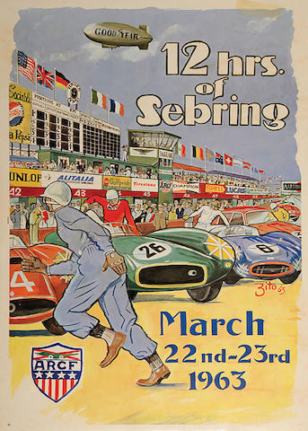 12 Hours of Sebring 1963 original event poster by Zito, 19.75in x 28.5in