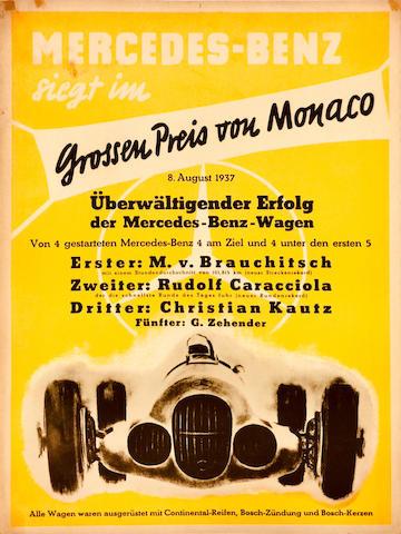 Mercedes-Benz original victory poster, 1937, 29in x 21in